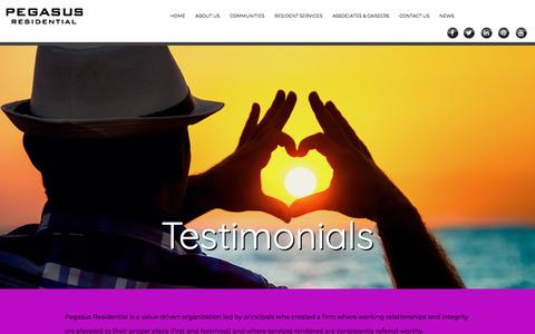 Screenshot of Testimonials Page pegasusresidential.com - Pegasus Residential - Apartments in Louisiana, Mississippi, Georgia, Florida, North Carolina, South Carolina, Texas, and Alabama - captured July 16, 2018