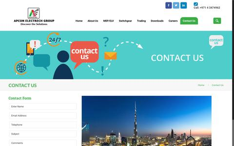 Screenshot of Contact Page apcon-electrech.ae - Contact Us – Apcon Electrech - captured Oct. 2, 2018
