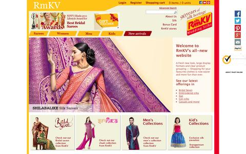 Screenshot of Home Page About Page Privacy Page Contact Page Login Page Terms Page rmkv.com - RmKV Silks | Buy silk sarees, Churidars online - captured Sept. 23, 2014
