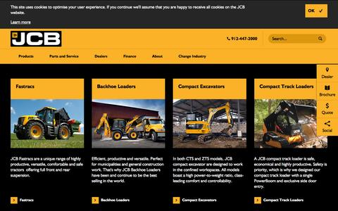 Screenshot of Products Page jcb.com - Products - captured Nov. 18, 2016