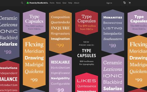 Screenshot of Home Page typography.com - Fonts by Hoefler&Co. - captured Feb. 11, 2020