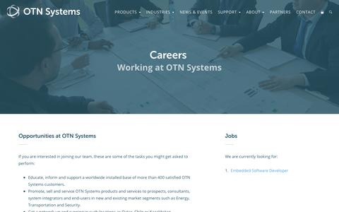 Screenshot of Jobs Page otnsystems.com - Careers · OTN Systems - captured June 14, 2017