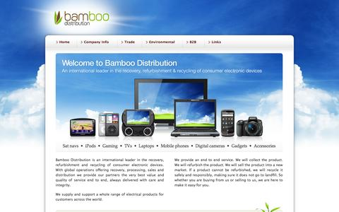 Screenshot of Home Page bamboodistribution.com - Bamboo Distribution - recovery, refurbishment & recycling of electronic devices - captured Sept. 30, 2014