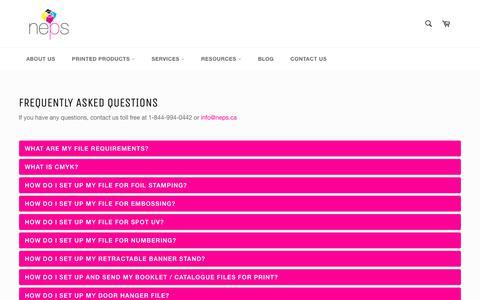 Screenshot of FAQ Page nepsprint.com - FAQ - captured Oct. 20, 2018