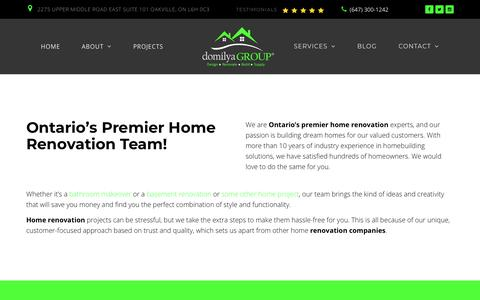Screenshot of About Page domilyagroup.ca - Home Renovation & Remodelling Company in Oakville, Mississauga - captured Aug. 9, 2018