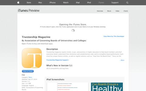 Screenshot of iOS App Page apple.com - Trusteeship Magazine on the App Store on iTunes - captured Oct. 23, 2014