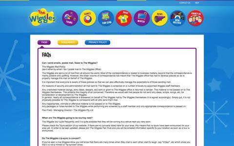 Screenshot of FAQ Page thewiggles.com - The Wiggles - captured Feb. 28, 2016