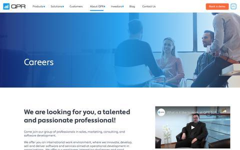 Screenshot of Jobs Page qpr.com - Careers | QPR - captured Aug. 15, 2019