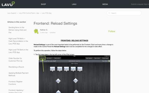 Screenshot of Support Page lavu.com - Frontend: Reload Settings – Lavu Support - captured Oct. 9, 2018