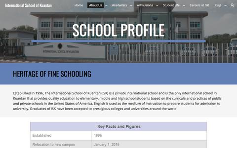 Screenshot of About Page google.com - International School of Kuantan - About Us - captured April 24, 2018