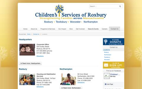 Screenshot of Contact Page Locations Page csrox.org - Locations - Children's Services of Roxbury - captured Nov. 5, 2016