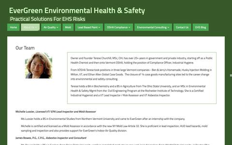 Screenshot of Team Page evergreen-environment.com - Our Team - EverGreen Environmental Health & Safety - captured Nov. 11, 2018