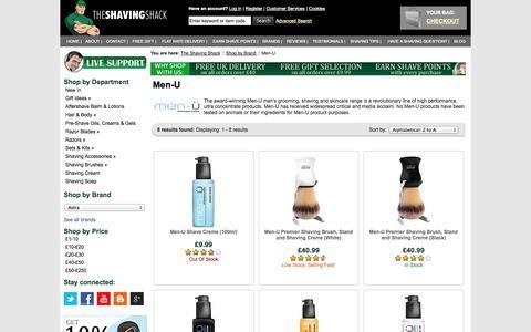 Screenshot of Menu Page shaving-shack.com - Buy Men-U Shaving & MenU Skincare Products | The Shaving Shack - captured Sept. 19, 2014