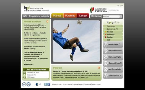 Screenshot of Home Page inpi.pt - INPI - Instituto Nacional da Propriedade Industrial - Portugal - captured Sept. 30, 2014
