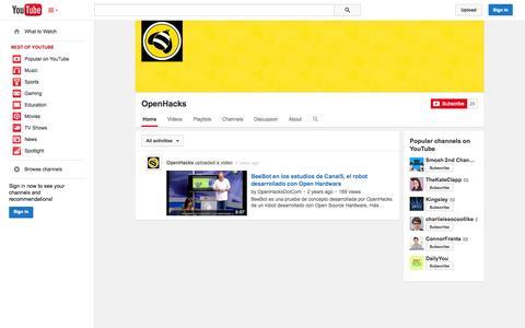 Screenshot of YouTube Page youtube.com - OpenHacks  - YouTube - captured Oct. 31, 2014