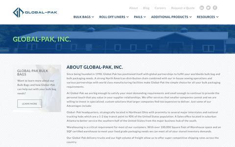 Screenshot of About Page global-pak.com - About | Global-Pak - captured Nov. 9, 2016