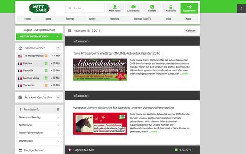 Screenshot of Press Page wettstar.de - News zum Renntag - captured Dec. 16, 2016