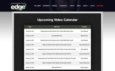Screenshot of tournamentpokeredge.com - Upcoming Video Calendar | tournamentpokeredge - captured Jan. 4, 2017