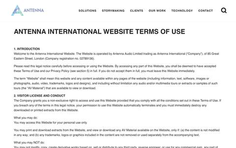 Screenshot of Terms Page antennainternational.com - Terms and Conditions | Antenna International - captured May 4, 2019