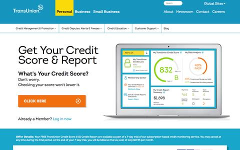 Screenshot of Home Page transunion.com - Credit Report, Credit Scores & Credit Checks | TransUnion - captured Jan. 15, 2015