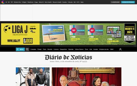 Screenshot of Home Page dn.pt - Diário de Notícias - captured Sept. 21, 2018