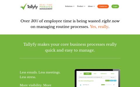Screenshot of Home Page tallyfy.com - Track your business processes in real-time - Tallyfy - captured Dec. 2, 2015
