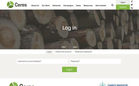 Screenshot of Login Page ceres.org - Log in | Ceres - captured July 23, 2017