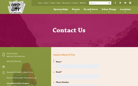 Screenshot of Contact Page cfci.org - Contact - Christ for the City International - captured Nov. 5, 2016