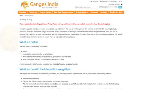 Screenshot of Privacy Page gangesindia.com - Privacy Policy - captured Dec. 7, 2015