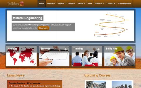 Screenshot of Home Page metsengineering.com - Mineral Engineering Technical Services - Home - captured Oct. 6, 2014