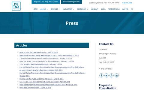 Screenshot of Press Page 212tax.com - Press| Radio Interviews | 212 Tax & Accounting Services - captured Dec. 2, 2016