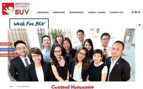 Screenshot of Jobs Page buv.edu.vn - WORK FOR BUV - captured Dec. 2, 2018