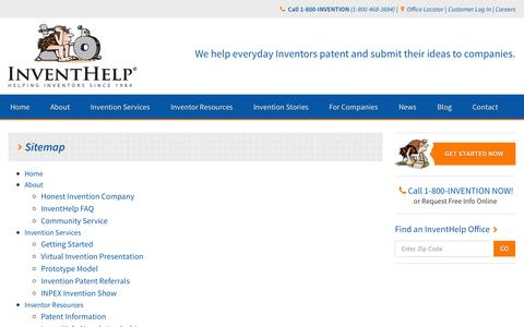 Screenshot of Site Map Page inventhelp.com - InventHelp.com Site Map - captured Sept. 19, 2014