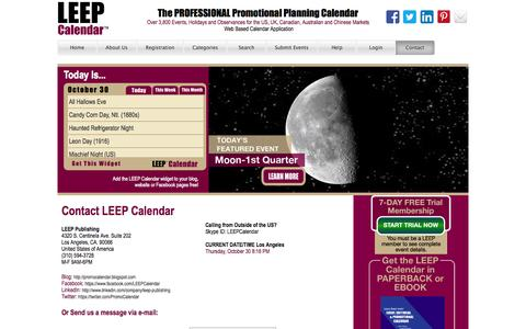 Screenshot of Contact Page leepbook.com - Leep Calendar - captured Oct. 31, 2014
