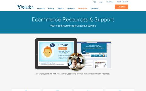 Screenshot of Support Page volusion.com - Ecommerce Support from Volusion - captured Oct. 10, 2014