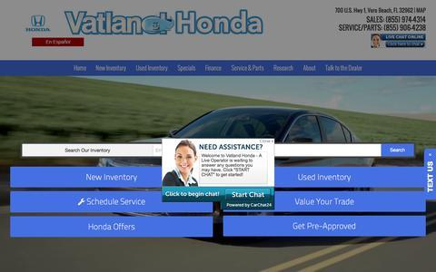 Screenshot of Home Page vatland.com - Honda Dealer in Vero Beach, FL, serving Fort Pierce and Roseland | Vatland Honda - captured Dec. 18, 2016
