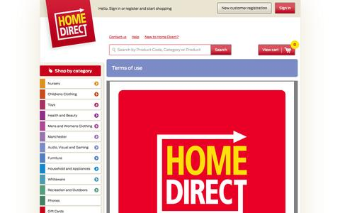 Screenshot of Terms Page homedirect.co.nz - ConditionsInfo - Home Direct - captured Oct. 3, 2014