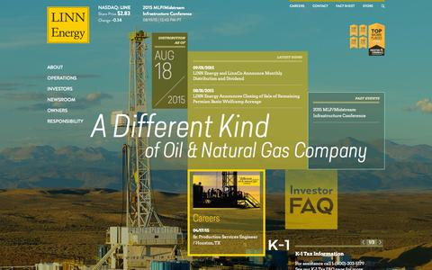 Screenshot of Home Page linnenergy.com - LINN Energy, LLC   Homepage   NASDAQ: LINE   Energy, Natural Gas, Oil, Operations - captured Sept. 26, 2015