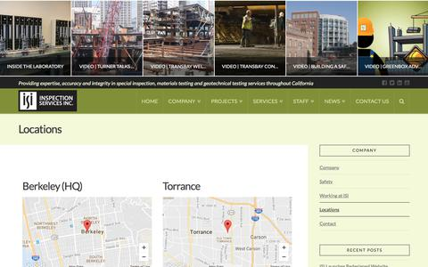 Screenshot of Locations Page inspectionservices.net - Locations | Inspection Services, Inc. - captured Oct. 15, 2017