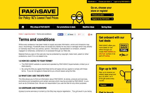Screenshot of Terms Page paknsave.co.nz - Terms and conditions | PAK'nSAVE - captured Sept. 23, 2014