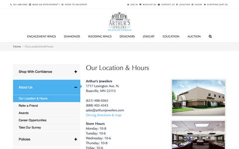 Screenshot of Hours Page arthursjewelers.com - Our Location & Hours - Jewelry Store in Minneapolis & St. Paul. Designer Engagement Rings & Fine Jewelry: Arthur's Jewelers - captured July 30, 2018