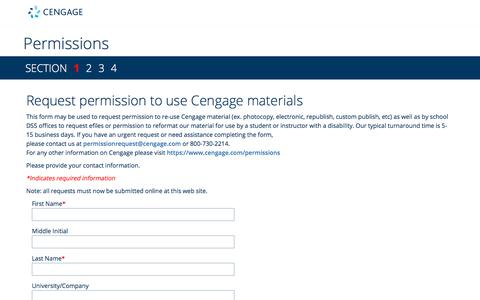 Cengage Learning Permissions Request