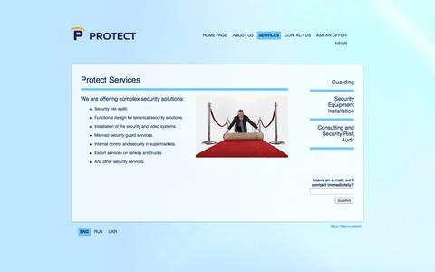 Screenshot of Services Page protect.kiev.ua - Protect | Services - captured Oct. 26, 2014
