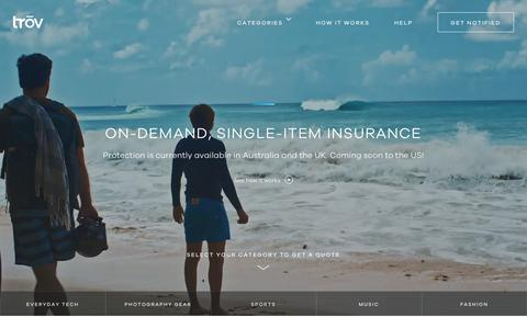 Screenshot of Home Page trov.com - Trōv | On-Demand Insurance - Home - captured June 26, 2018