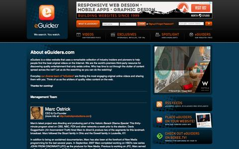 Screenshot of About Page eguiders.com - About Us - eGuiders. We Search. You Watch. - captured Oct. 3, 2014