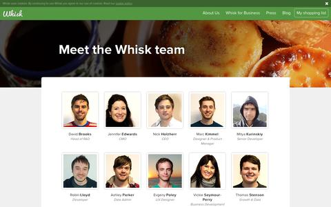 Screenshot of Team Page whisk.com - The Team | Online Shopping List Maker | Grocery List Apps - captured Jan. 14, 2016