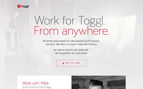Screenshot of Jobs Page toggl.com - Toggl Jobs, Open Positions, Startup Hiring - captured Sept. 18, 2014
