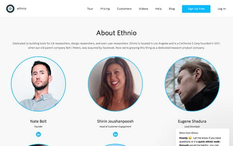 Screenshot of About Page ethn.io - About Us - captured Sept. 10, 2018