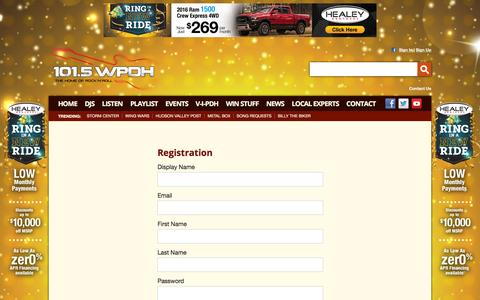 Screenshot of Signup Page wpdh.com - 101.5 WPDH Radio – The Home of Rock and Roll – Poughkeepsie Classic Rock Radio - captured Jan. 20, 2016
