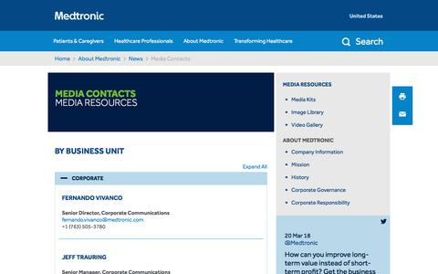 Screenshot of Press Page medtronic.com - Media Contacts   Business Unit - captured March 21, 2018